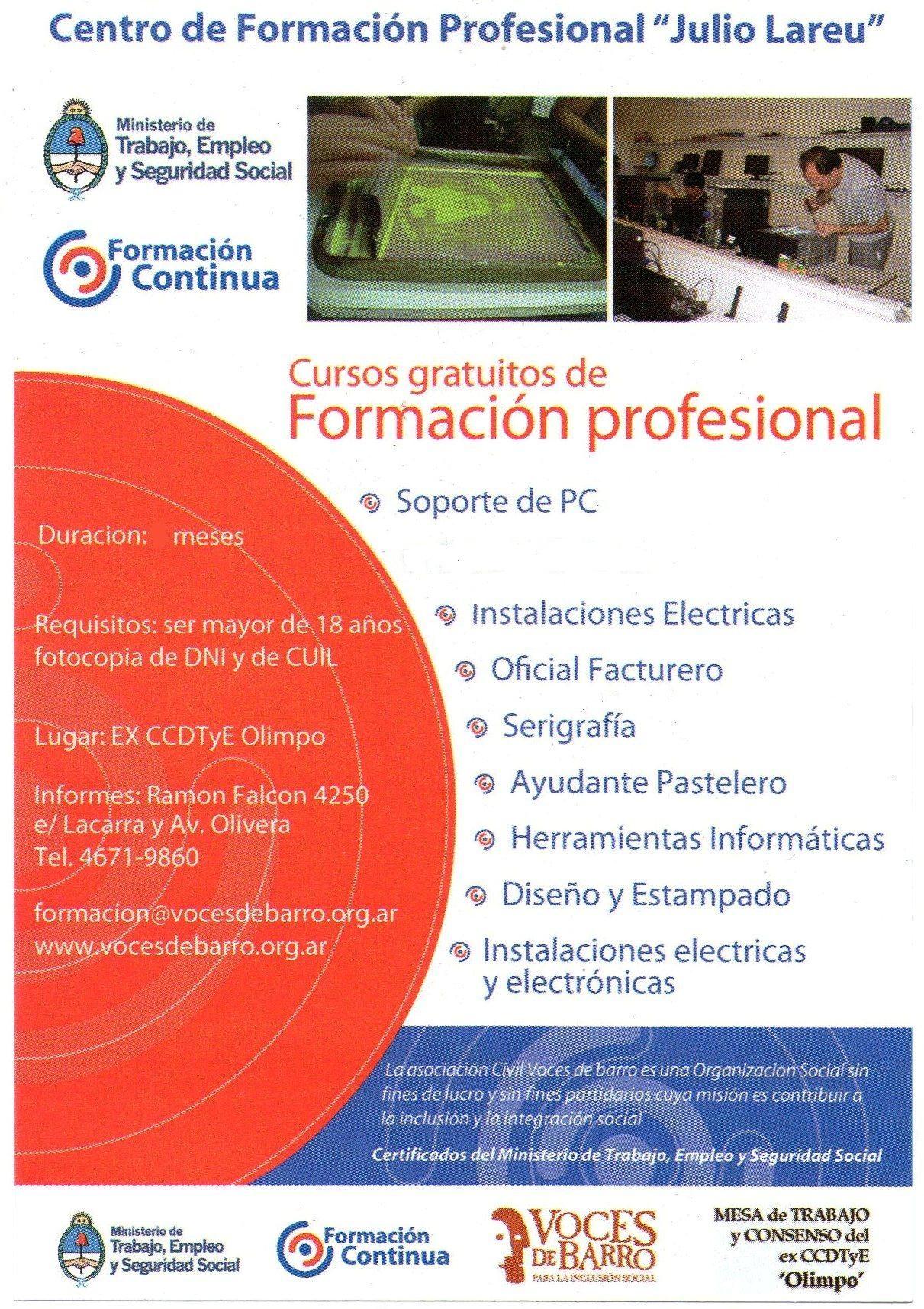 Cursos de Formación Profesional - en febrero abren las pre-inscripciones - ¡reservá tu vacante!