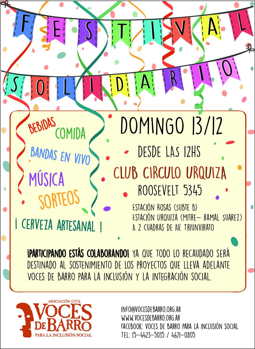 Domingo 13/12 ¡Festival Solidario! ¡Sumate y Colaborá con VdB!